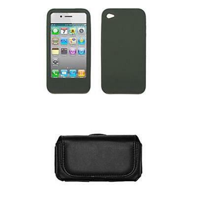 for iPhone 4 4th Gen Case Skin Smoke Gel+Leather Pouch 4th Gen Skin