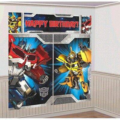 Transformers Birthday Banner (TRANSFORMERS WALL BANNER DECORATING KIT (5pc) ~ Happy Birthday Party)