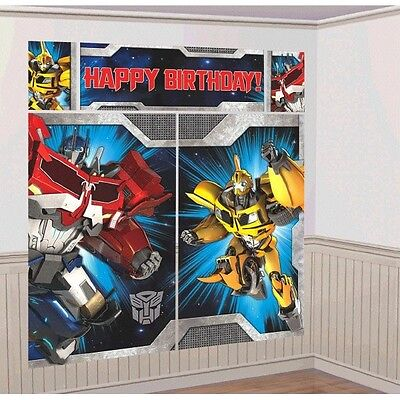 TRANSFORMERS WALL BANNER DECORATING KIT (5pc) ~ Happy Birthday Party Supplies - Transformers Birthday