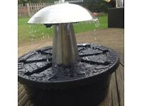 1ft stainless still mushroom water feature with LEDs (upwards and downwards)