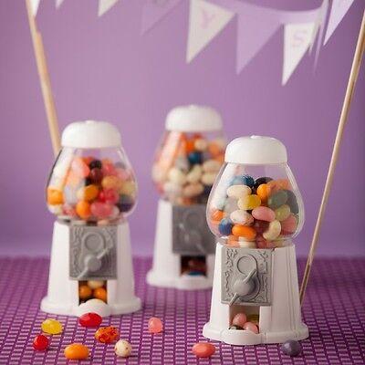 Mini Kaugummiautomat weiß -  als Gastgeschenk Hochzeit Süßigkeiten Bonbons Taufe