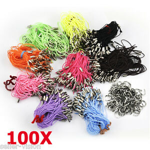 100 Mobile Phone Cord Charms Lanyard Strap 7mm Jumprings Tag Clasp Single Colour