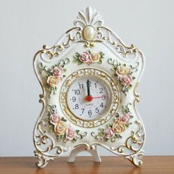 Retro Green Rose Flower Home Decor Table Clock Resin Battery Electronic SZ181