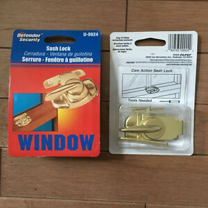 Two Brass Coloured Sash Locks for Windows