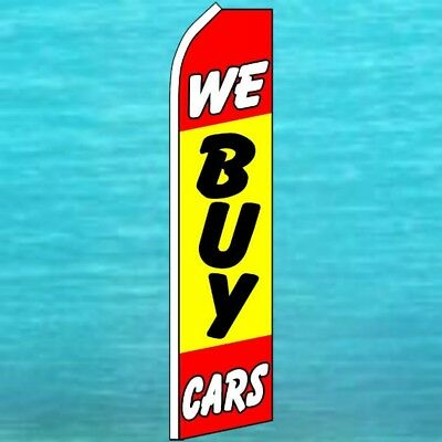 We Buy Cars Flutter Flag Tall Curved Top Advertising Sign Feather Swooper Banner
