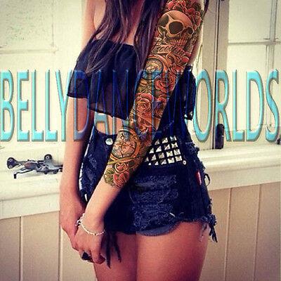 ROSE AND SKULL FREEDOM FULL ARM SLEEVE TEMPORARY TATTOO BODY ART MAKEUP STICKER - Skull And Roses Tattoo Sleeve