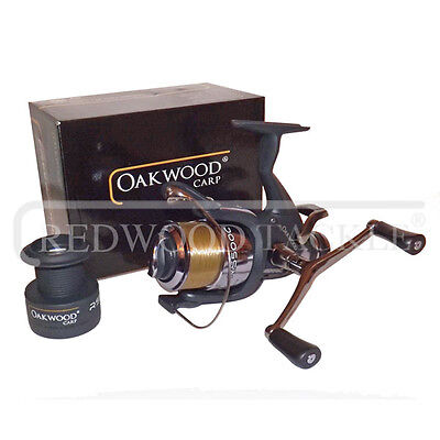 NEW Double Handle Deluxe Oakwood BTR/Free Spool Fishing Carp Reel + Line