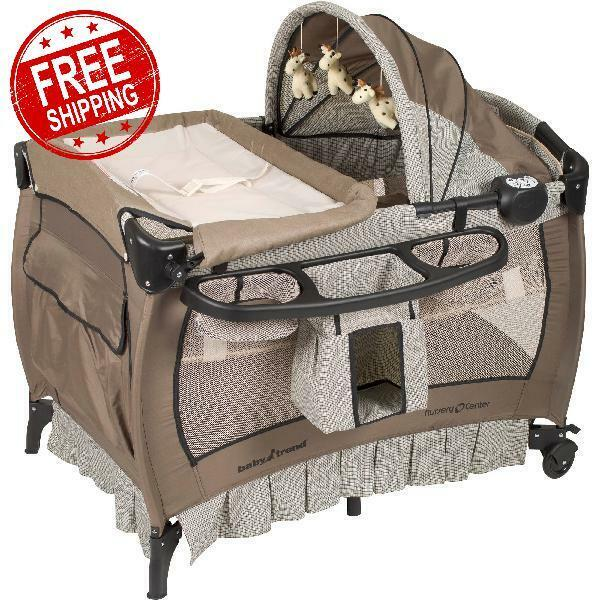 Crib & Changer Pack n Play with Sound Portable Baby Infant Bassinet Playpen