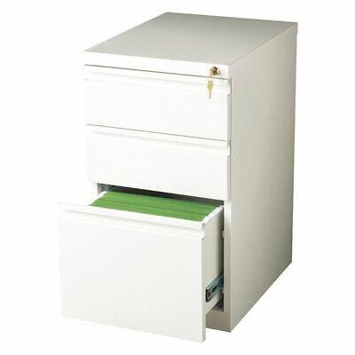 Hirsh 19353 20 Deep Three-drawer Mobile Pedestal File Cabinet White