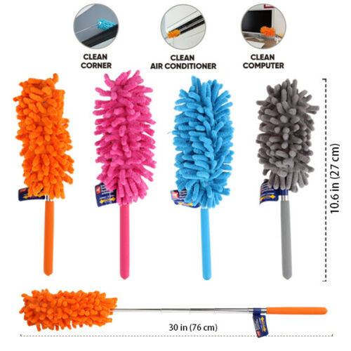 Extendable &Bendable Soft Microfiber Duster Dusting Brush Cleaning Tool Washable