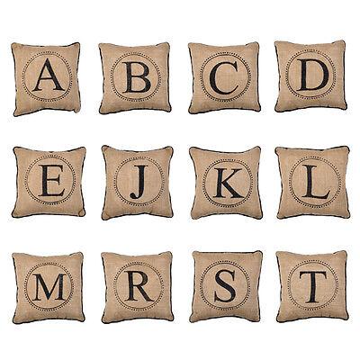 Monogram Burlap Pillow with Black Piping, 12