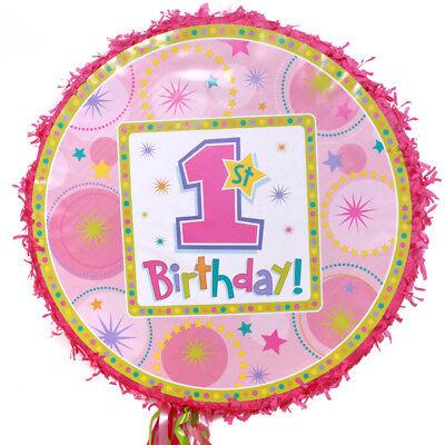 1st Birthday Pinatas (GIRLS 1st Birthday Pull String Pinata - Birthday Party Supplies )