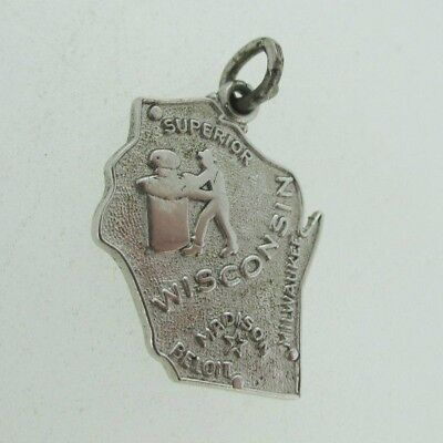Sterling Silver Wells Wisconsin Badger State Pendant Charm