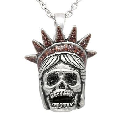 Lady Liberty Skull & Crown Pendant Necklace with Cubic Zirconia Jewelry Controse