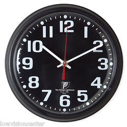 Chicago Lighthouse 9.25 Low Vision Quartz Wall Clock - Black Face with White #