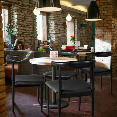 2pcs Dining Chairs Armless w/Backrest Modern Kitchen Chairs Metal Legs Black 1