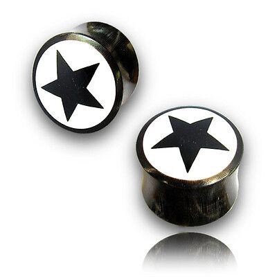 - PAIR INLAY BONE 0G 8MM STAR CARVED HORN PLUGS PLUG EAR GAUGES