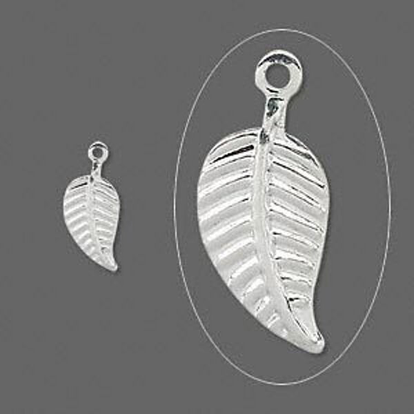 Leaf Charms Silver Drops Chandelier 1/2 inch Finding Jewelry Lot of 50