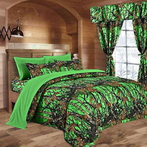 7 PC QUEEN SET! DAY GLOW CAMO BIOHAZARD GREEN COMFORTER SHEETS SET CAMOUFLAGE