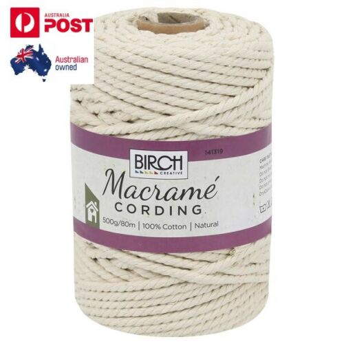 Quality Birch Macrame Cord 100% Natural Cotton Cording 500g, 80 Metres 5mm NEW