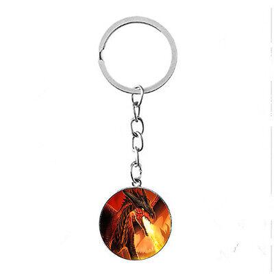 Vintage Glass photo Cabochon Tibetan silver Metal Key Ring (fire dragon)