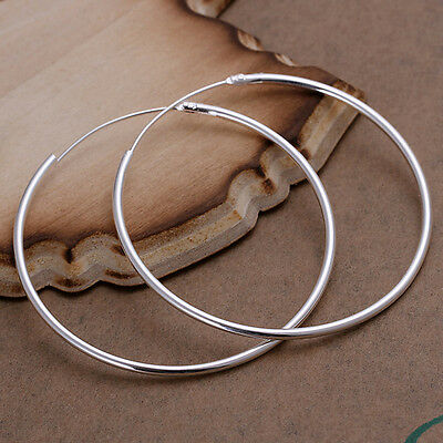 Round Loop Earrings - Fashion Lady Women 925 Sterling Silver Round Big Large Hoop Huggie Loop Earrings