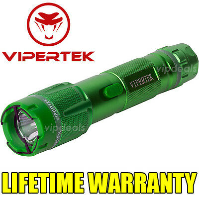 VIPERTEK VTS-T03 Metal Police 600 MV Stun Gun Rechargeable LED Flashlight Green