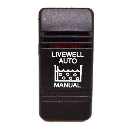 Carling Rocker Switch Cover | Livewell Auto/Manual Black Illuminated (Single)
