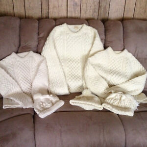 2 Fisherman Knit Sweaters & Matching Toques: Belleville Belleville Area image 1
