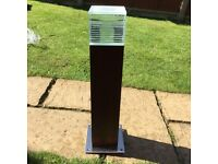 Brand new electric cable garden bollard lights glass and wood