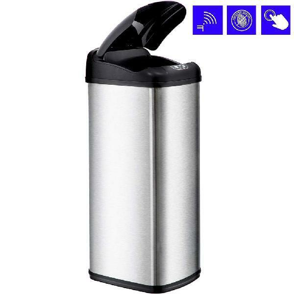BestOffice 13 Gallon Touch-Free Sensor Automatic Stainless-S