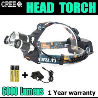 RECHARGEABLE 3T6 6000LM T6 XML LED HEADLIGHT TORCH LAMP
