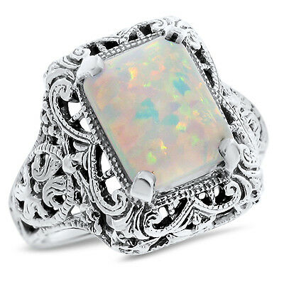 WHITE LAB OPAL .925 STERLING ANTIQUE FILIGREE STYLE SILVER RING SIZE 9,#758