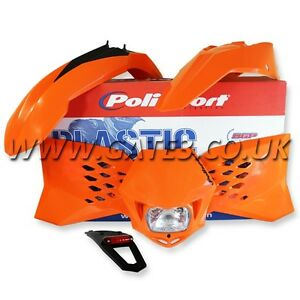 KTM 250EXCF EXC-F 250 2008-2011 ORANGE POLISPORT ENDURO PLASTIC KIT WITH LIGHTS
