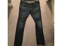 All saints jeans 32 waist men's jeans cigerette fit