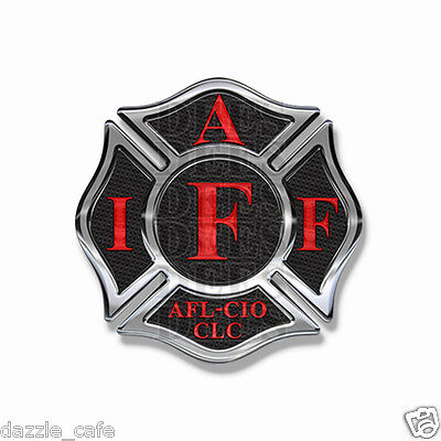 "IAFF Sticker Decals (4 pack) Firefighter Int'l Maltese Cross 2"" wide Black w/Red"