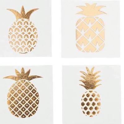 36 Gold Foil Pineapple Tattoos Tropical Party Favors Bridal Shower Bacholerette  - Gold Foil Tattoo