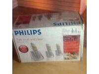 Philips Silver Cordless phone with 3 handsets included new in Box Bargain