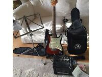 Child's Jim Deacon Electric Guitar and Roland Cube Amp
