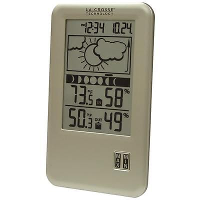 Lacrosse Tech Wireless Indoor Outdoor Lcd Home Weather Forecast Station W  Clock