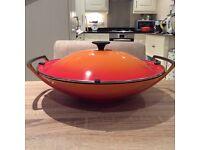 Le Creuset cast iron wok with lid