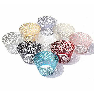 Mini Cupcake Box (50pcs Filigree Vine Lace Cupcake Wrappers Cases Laser Cut Box Wedding Cake)