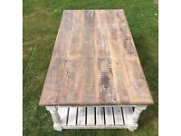 Large shabby chic wood coffee table