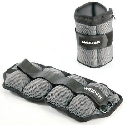 Weider 10 lb Pair Adjustable Ankle Weights with Hook-and-Loo