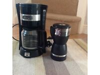 De Longhi filter coffee machine and coffee bean grinder