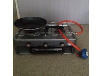 Portable double burner and grill