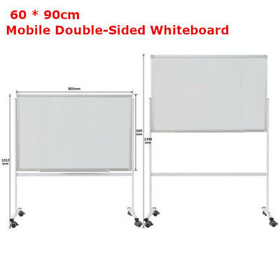 Mobile Whiteboard Magnetic Dry Erase Board 60 90cm Double Sided With Stand Bs