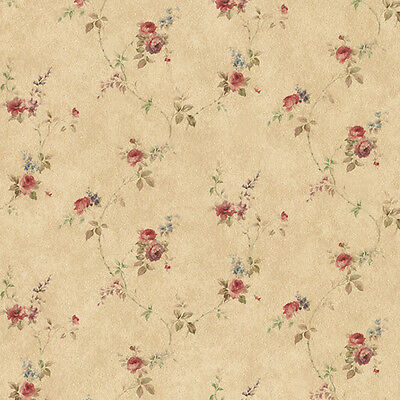 Rose Floral Trail Red Blue Brown PR33807 Wallpaper Double Roll FREE (Blue Rose Wallpaper)