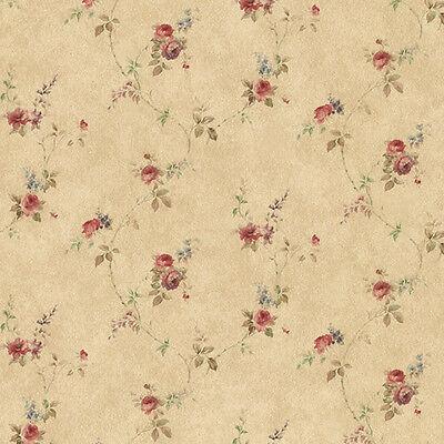 Rose Floral Trail Red Blue Brown PR33807 Wallpaper Double Roll FREE - Brown Floral Trail Wallpaper