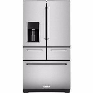 Réfrigérateur acier inoxydable 36'', 5-portes, Congélateur en bas, KitchenAid